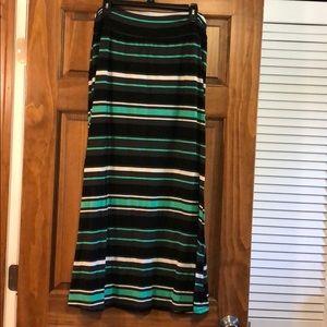 Mint Green Black White Gray stripe Long Maxi Skirt